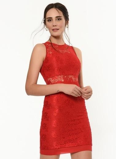 İroni Dantel Mini Elbise Kırmızı